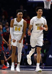 Jeremiah Davenport (24), left, teamed with Jaxson Hayes to lead Moeller to the 2018 Ohio Division I state title. Hayes went on to Texas and has declared for the NBA Draft in June. Davenport has committed to play for the University of Cincinnati.