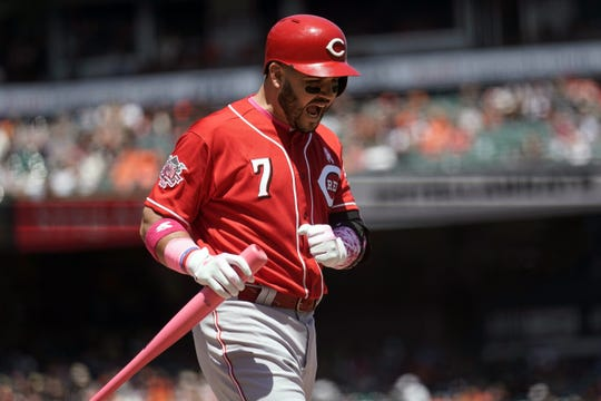 May 12, 2019; San Francisco, CA, USA; Cincinnati Reds third baseman Eugenio Suarez (7) reacts after striking out against the San Francisco Giants during the third inning at Oracle Park. Mandatory Credit: Stan Szeto-USA TODAY Sports