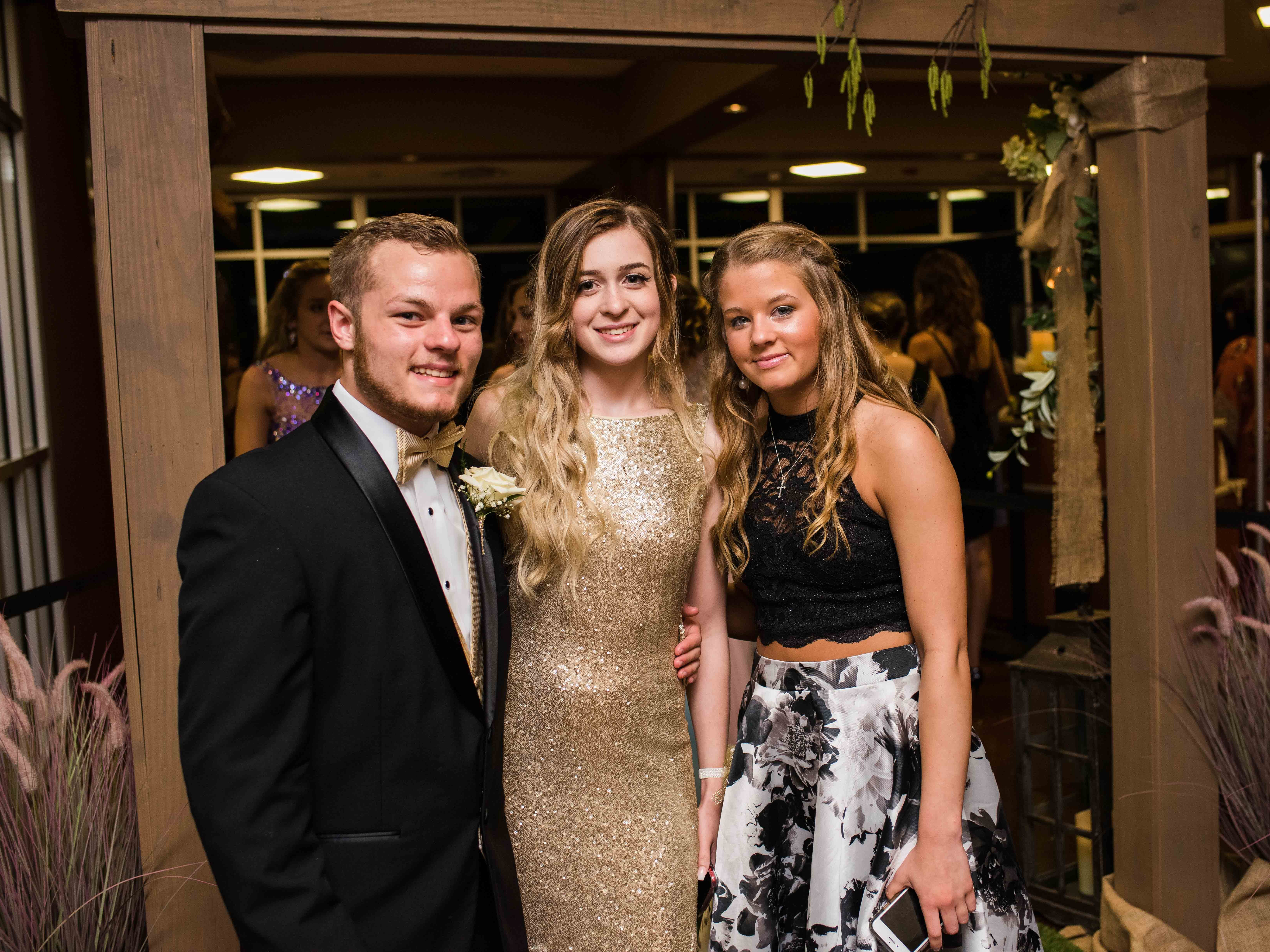 Gage Barefield, Lauren Collins and Savannah Barefield at Rossview High School 2019 prom Saturday night at Valor Hall in Oak Grove, Ky.