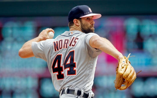 Detroit Tigers pitcher Daniel Norris throws against the Minnesota Twins in the first inning of a baseball game Sunday, May 12, 2019, in Minneapolis.