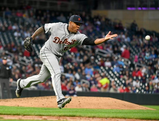 Detroit Tigers pitcher Gregory Soto tosses a ground ball to first to get out Minnesota Twins' Byron Buxton in the fourth inning.