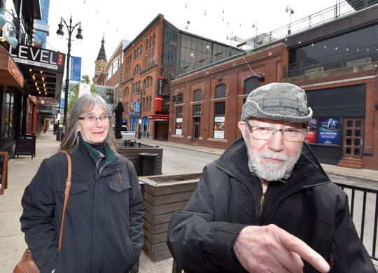 """Joseph Schnur, 86, and his wife Pat, 78, came to Greektown Sunday for a Mother's Day meal. They were unaware of last week's shooting.  """"No, I hadn't heard,"""" Joseph said, quickly adding: """"You have to watch out what you're doing. You have to watch where you're at."""""""