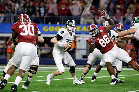 Ohio State was the last Big Ten team to make the College Football Playoff, after the 2016 season. The year prior, Michigan State made it and lost to Alabama.