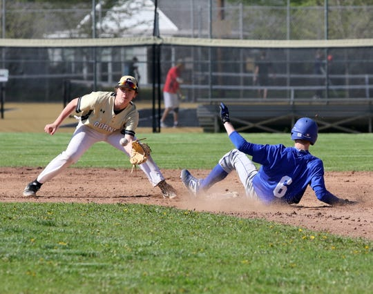 Kyle Wayman steals second for Horseheads as Corning's Landen Burch waits for the throw May 11, 2019 at Corning-Painted Post High School.