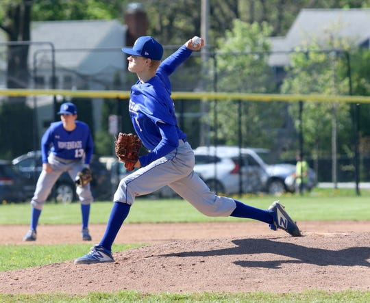 Connor Godwin delivers a pitch for Horseheads on his way to a complete game against Corning during a 6-5 win May 11, 2019 at Corning-Painted Post High School.