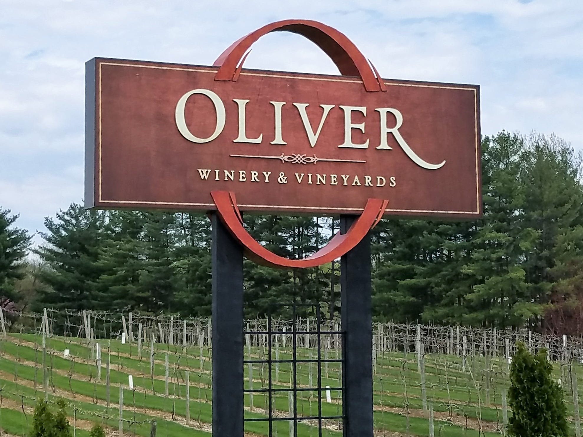 Oliver Winery grows 54 acres of grapes in its Creekbend Vineyard.