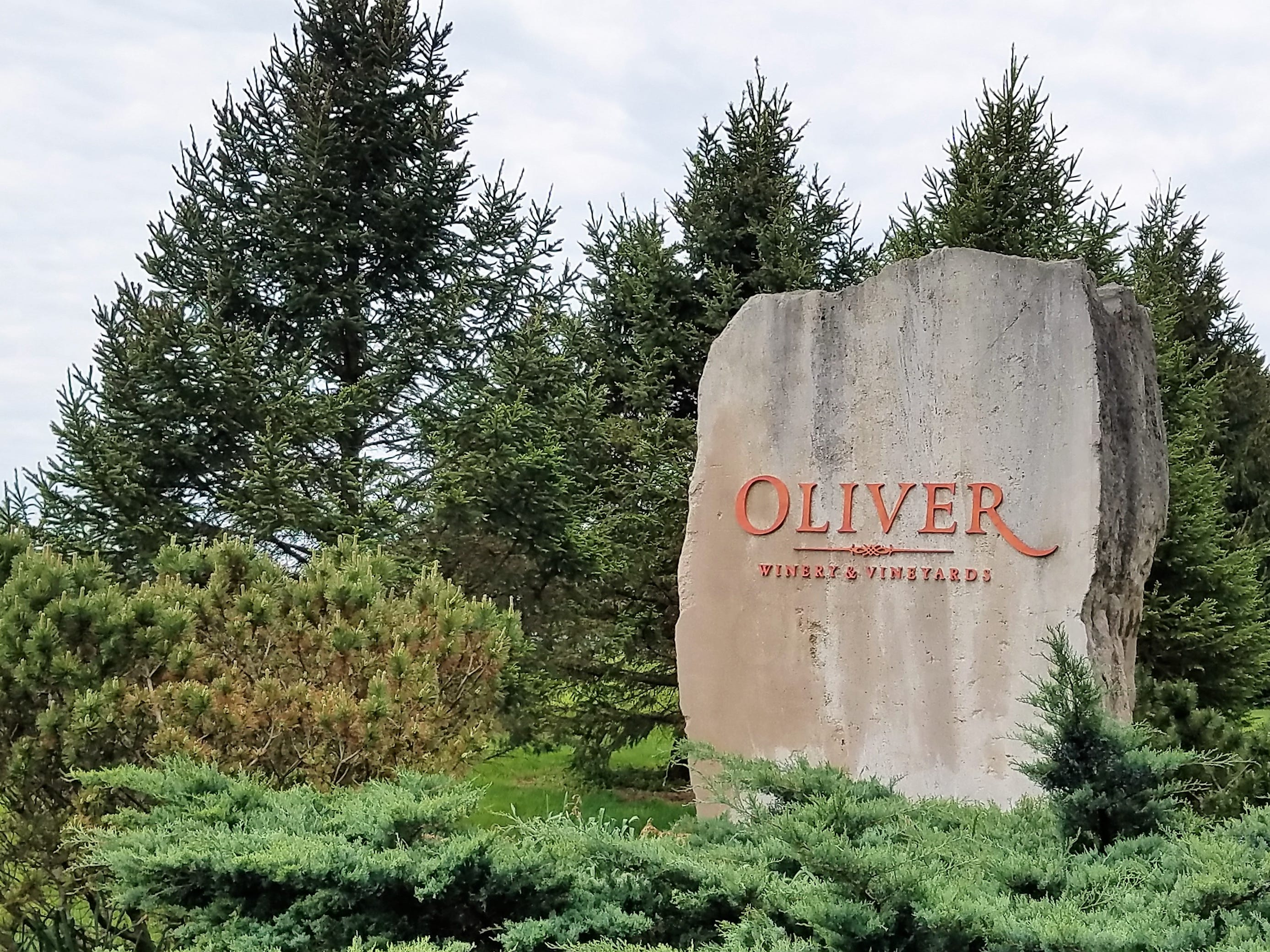 You'll see a lot of the local limestone on the grounds of Oliver Winery and Vineyards.