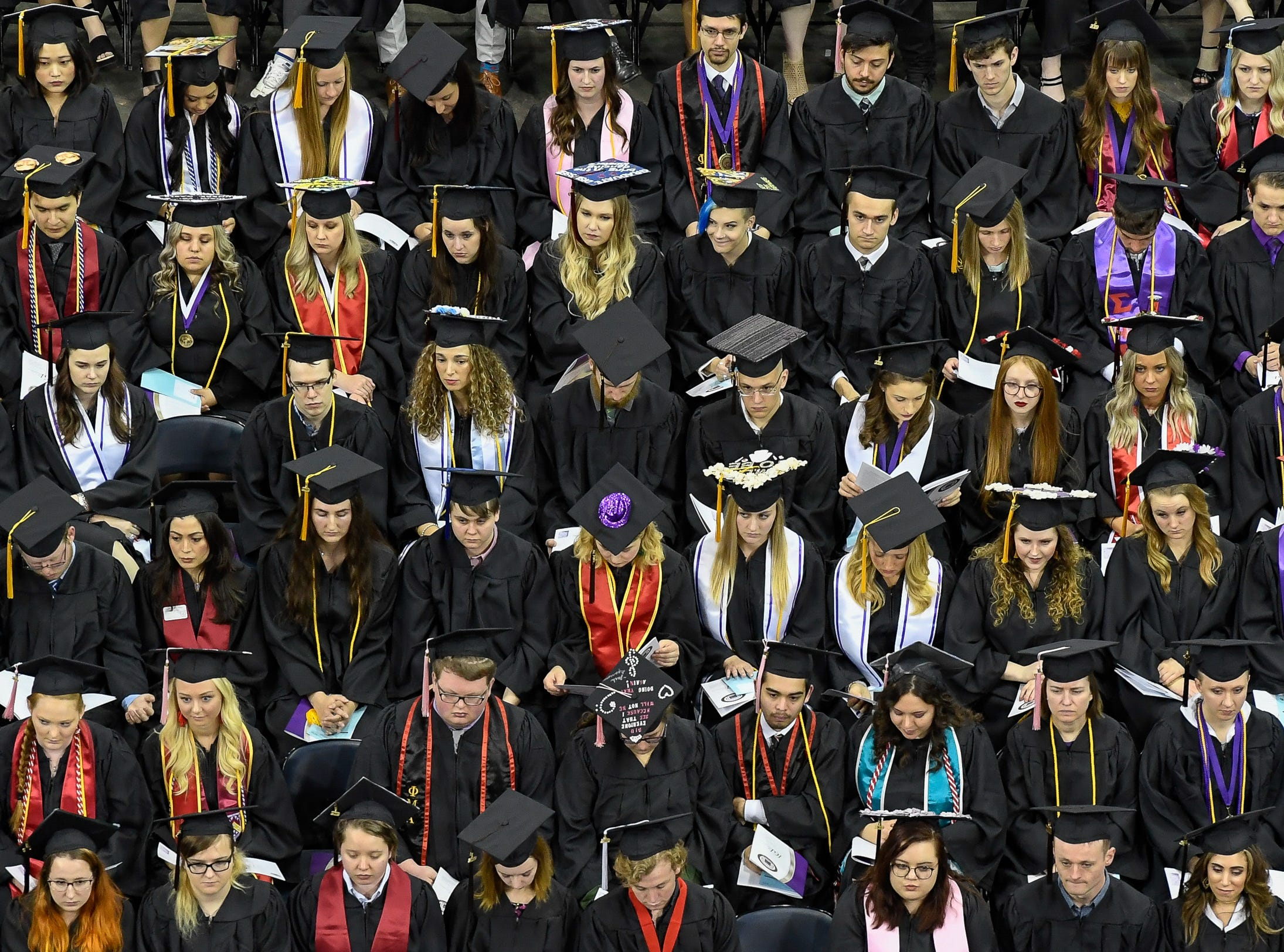 Graduates at the University of Evansville's 161st commencement ceremony held at the Ford Center Saturday, May 11, 2019.