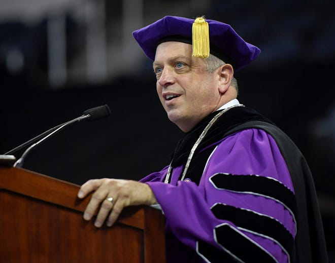 University of Evansville President Christopher Pietruszkiewicz addresses graduates, family and friends attending the school's 161st commencement ceremony held at the Ford Center Saturday, May 11, 2019.