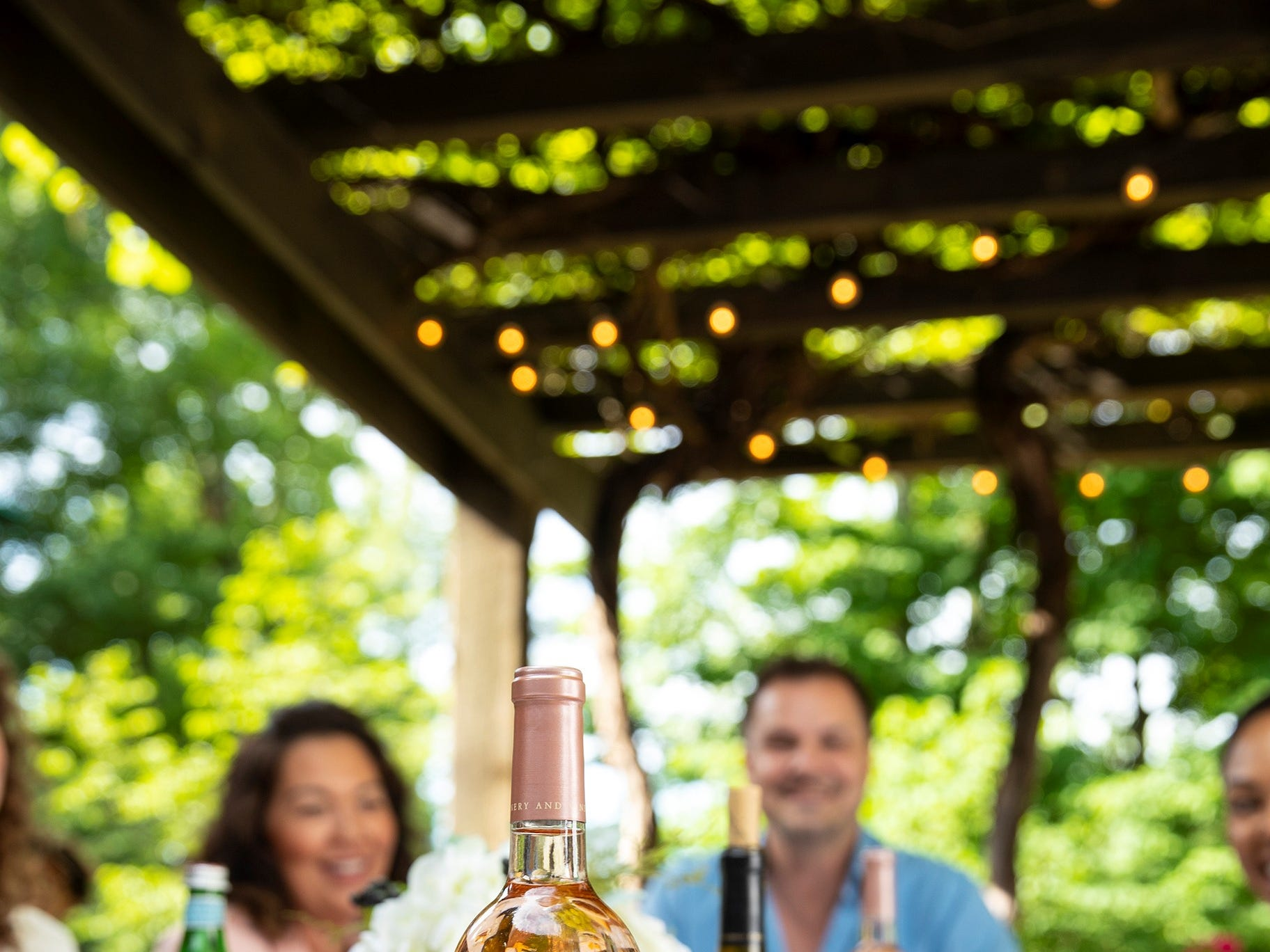 Oliver Winery is known for sweet wines such as this cherry Moscato being enjoyed on the patio.