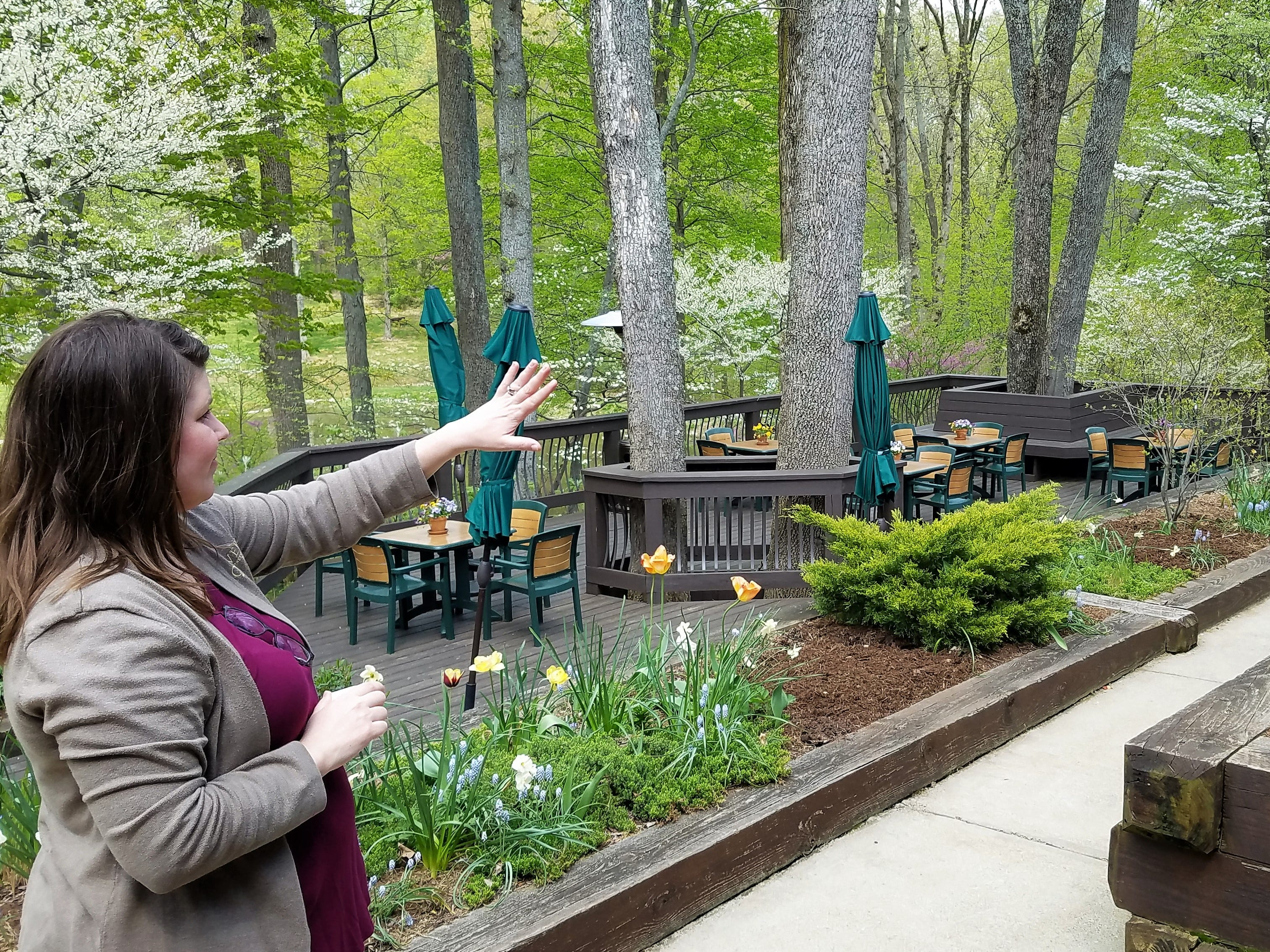 Sara Anderson, marketing director at Oliver Winery, on the tasting room's beautiful outdoor patio.