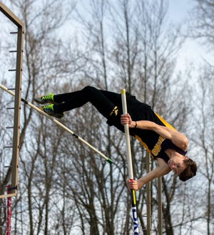 Mitchell Stegeman of Suring, pictured vaulteing to first place at the Oconto County Meet in Oconto on May 6., won the Division 3 Marathon Sectional title and qualifed for the state Track & Field Championships on May 31-June 1.