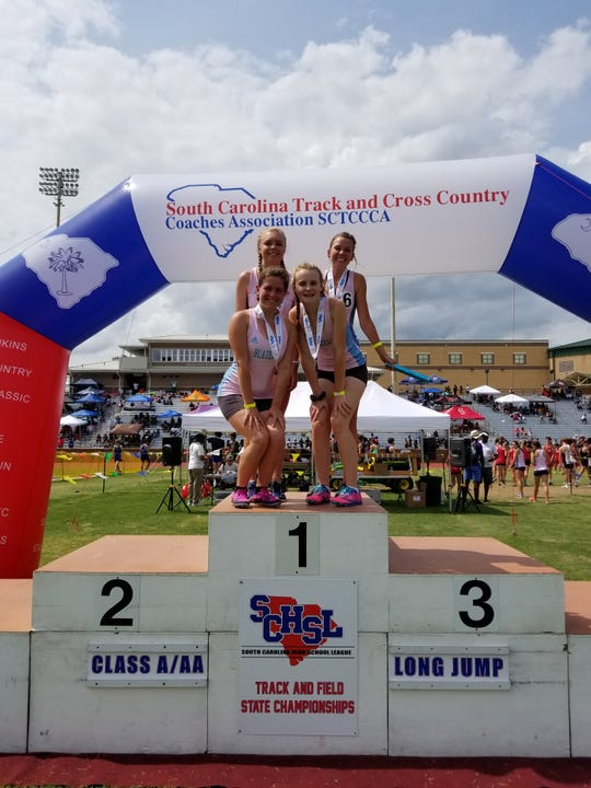 The Greer Middle College girls 4x800 track team won the Class AA state championship