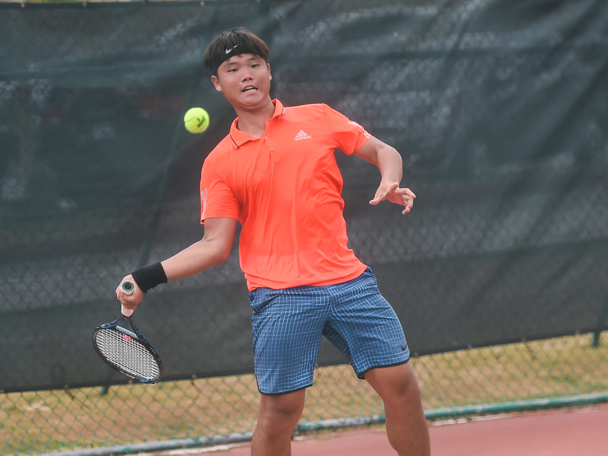 Yung-Chien Chen competes during a 2019 Chuck E Cheese ITF World Tennis Tour Juniors qualifying match at the Hilton Guam Resort and Spa in Tumon, May 12, 2019.