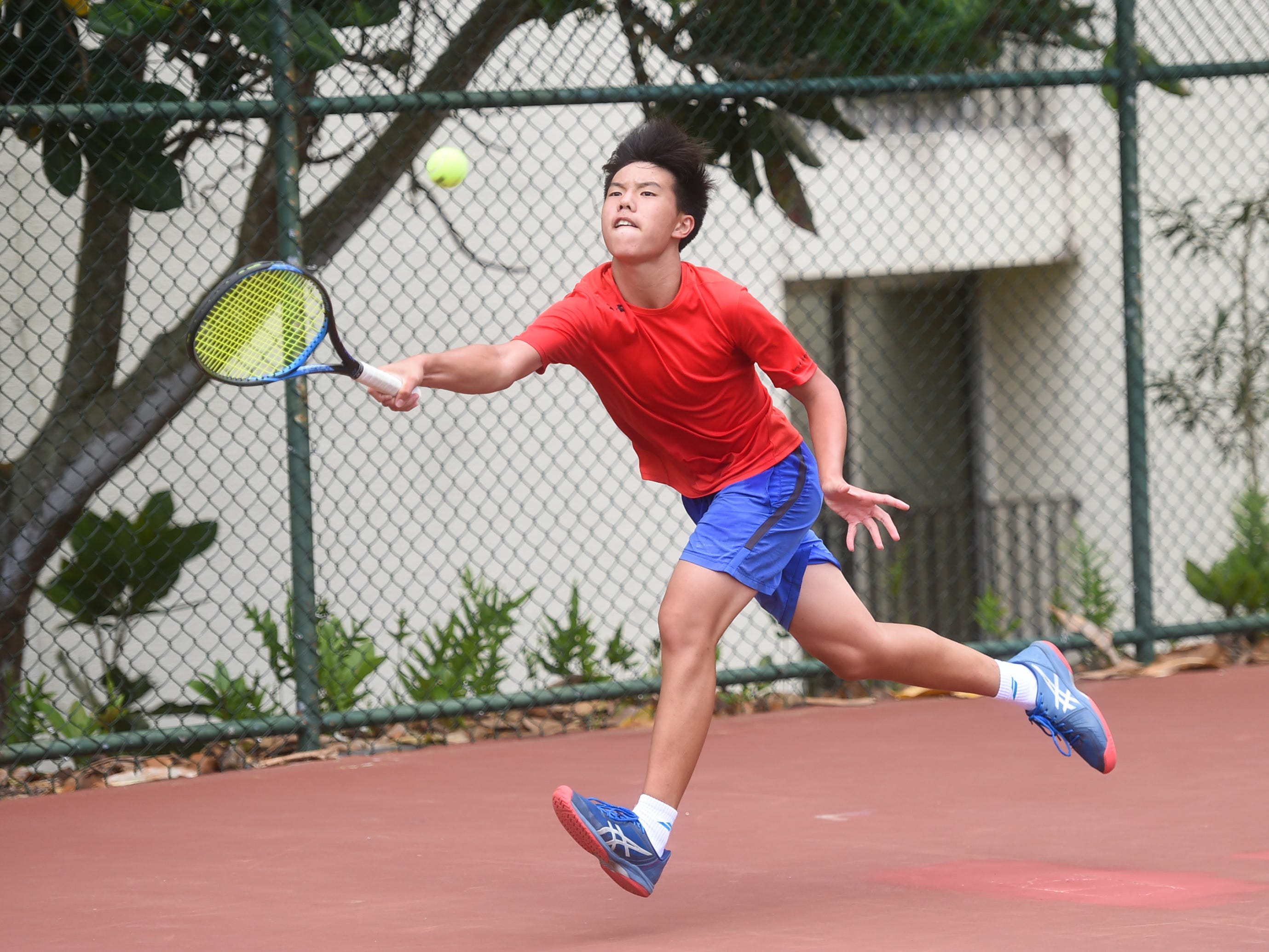 Yu-Te Chou during a 2019 Chuck E Cheese ITF World Tennis Tour Juniors qualifying match at the Hilton Guam Resort and Spa in Tumon, May 12, 2019.