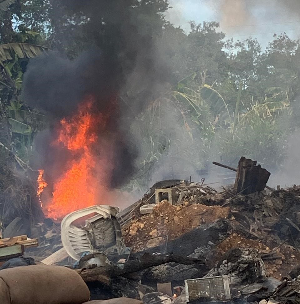 Trash fire in Barrigada; no road closures reported