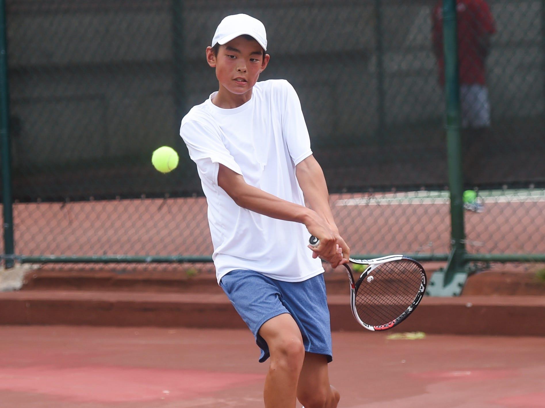 Kohdai Sasaki during a 2019 Chuck E Cheese ITF World Tennis Tour Juniors qualifying match at the Hilton Guam Resort and Spa in Tumon, May 12, 2019.
