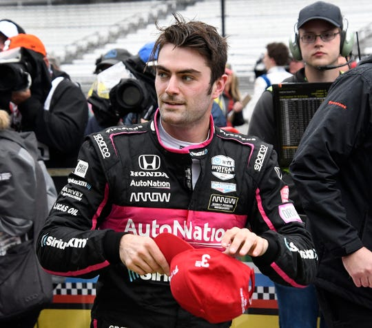 Third place finisher Meyer Shank Racing driver Jack Harvey in victory circle following the IndyCar Grand Prix at the Indianapolis Motor Speedway on Saturday, May 11, 2019.