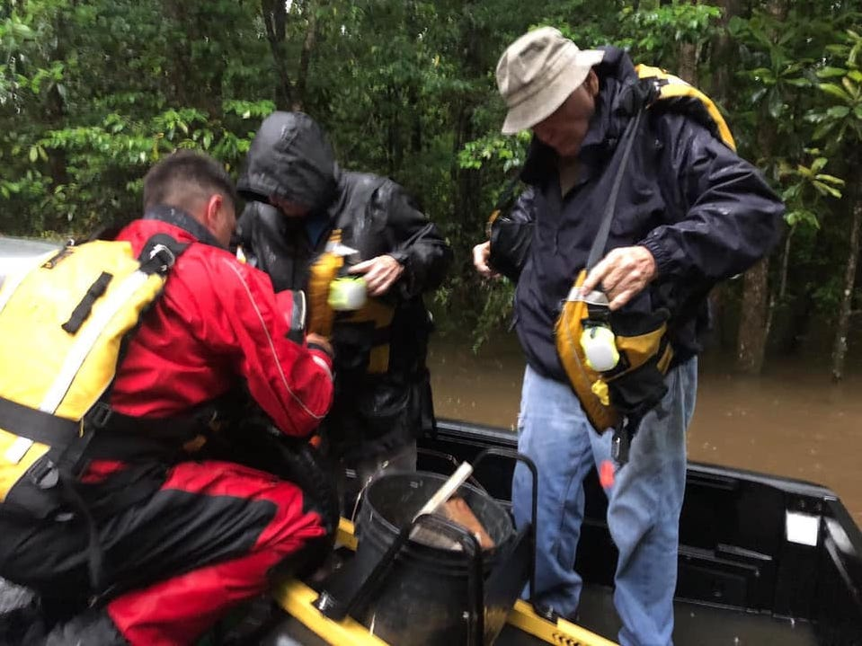 The Mississippi Urban Search and Rescue Task Force conducts water rescues during flooding in south Mississippi on Sunday, May 12, 2019.