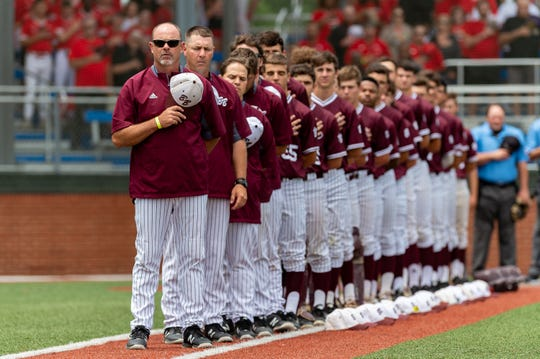 Head Coach Kyle Cormier as Breaux Bridge takes on Lakeshore  in the Class 4A semi final round at the LHSAA State Championship. . Sunday, May 12, 2019.