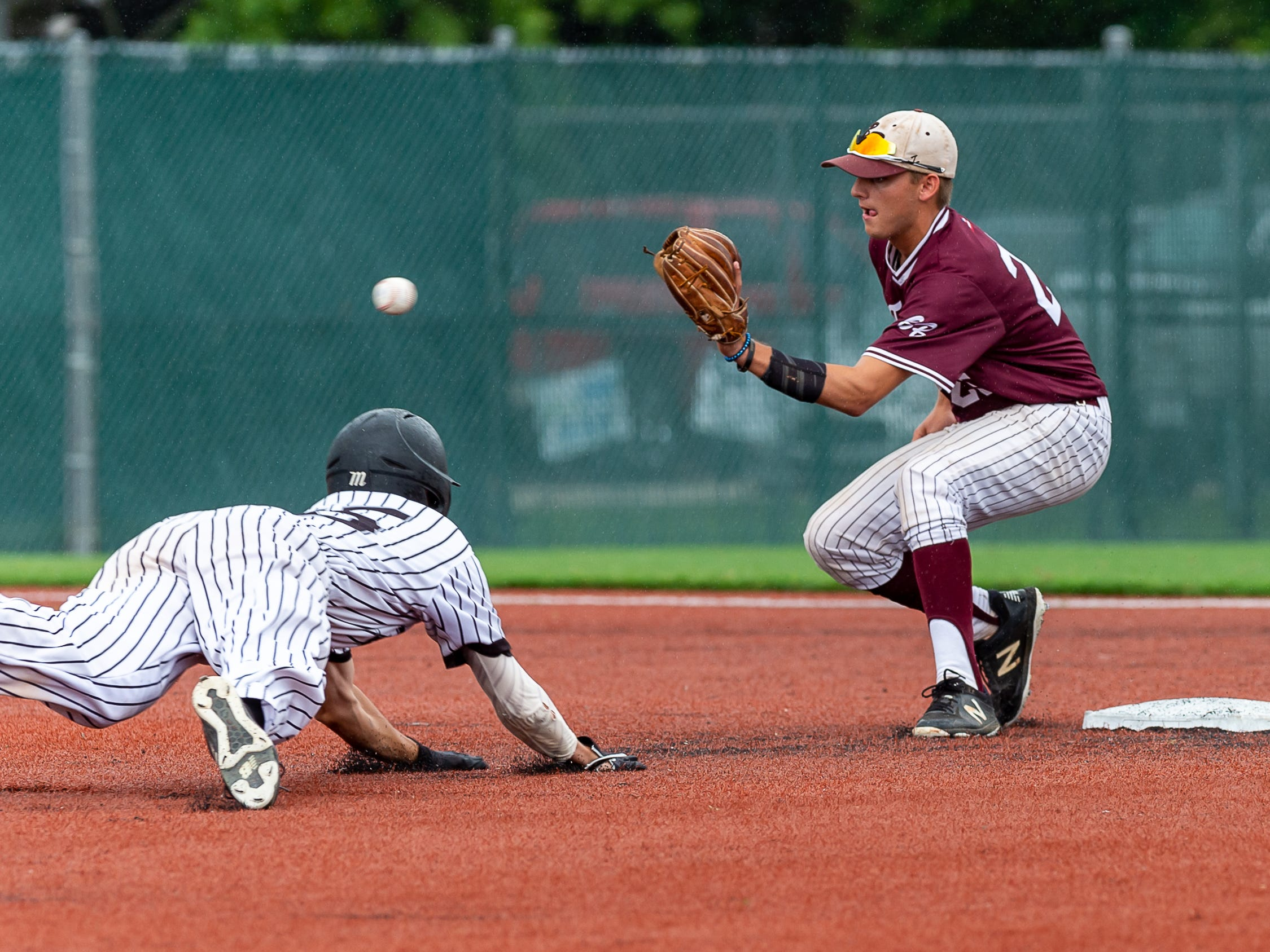 Shortstop Christian Gonzales lays down the tag to get the out as Breaux Bridge takes on Lakeshore  in the Class 4A semi final round at the LHSAA State Championship. . Sunday, May 12, 2019.