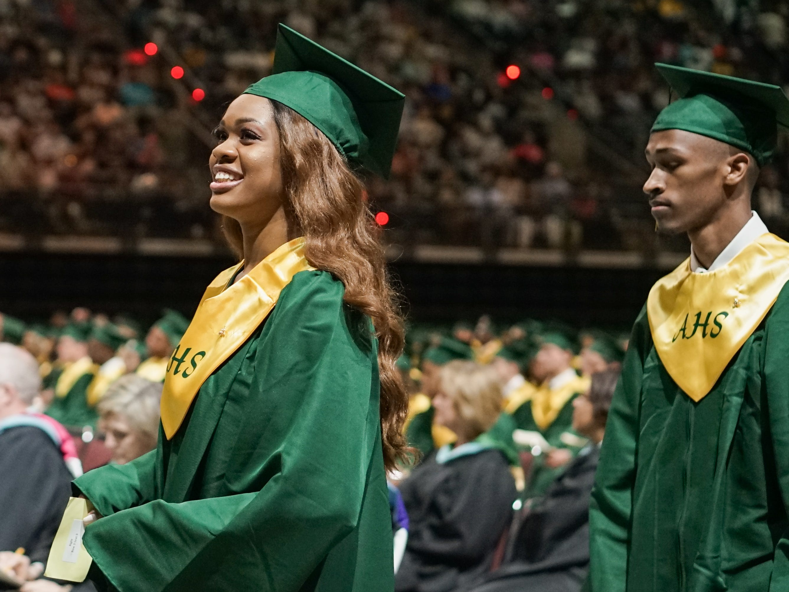 Acadiana High School holds its graduation ceremony at the Cajundome in Lafayette.