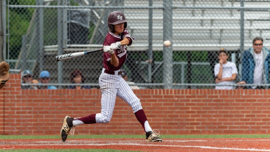 Caleb Seroski at the plate as  Breaux Bridge takes on Lakeshore  in the Class 4A semi final round at the LHSAA State Championship. . Sunday, May 12, 2019.