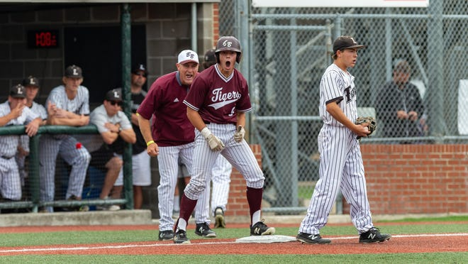 Layton Berard hits a triple as  Breaux Bridge takes on Lakeshore  in the Class 4A semi final round at the LHSAA State Championship. . Sunday, May 12, 2019.