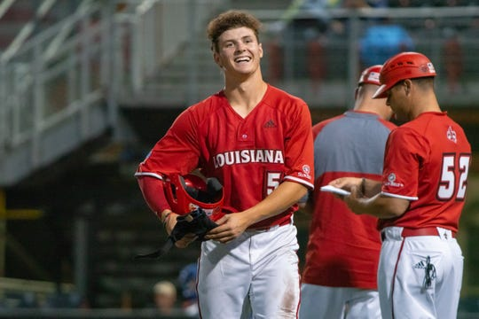 UL shortstop Hayden Cantrelle is all smiles as the Ragin' Cajuns take on Georgia State last May.