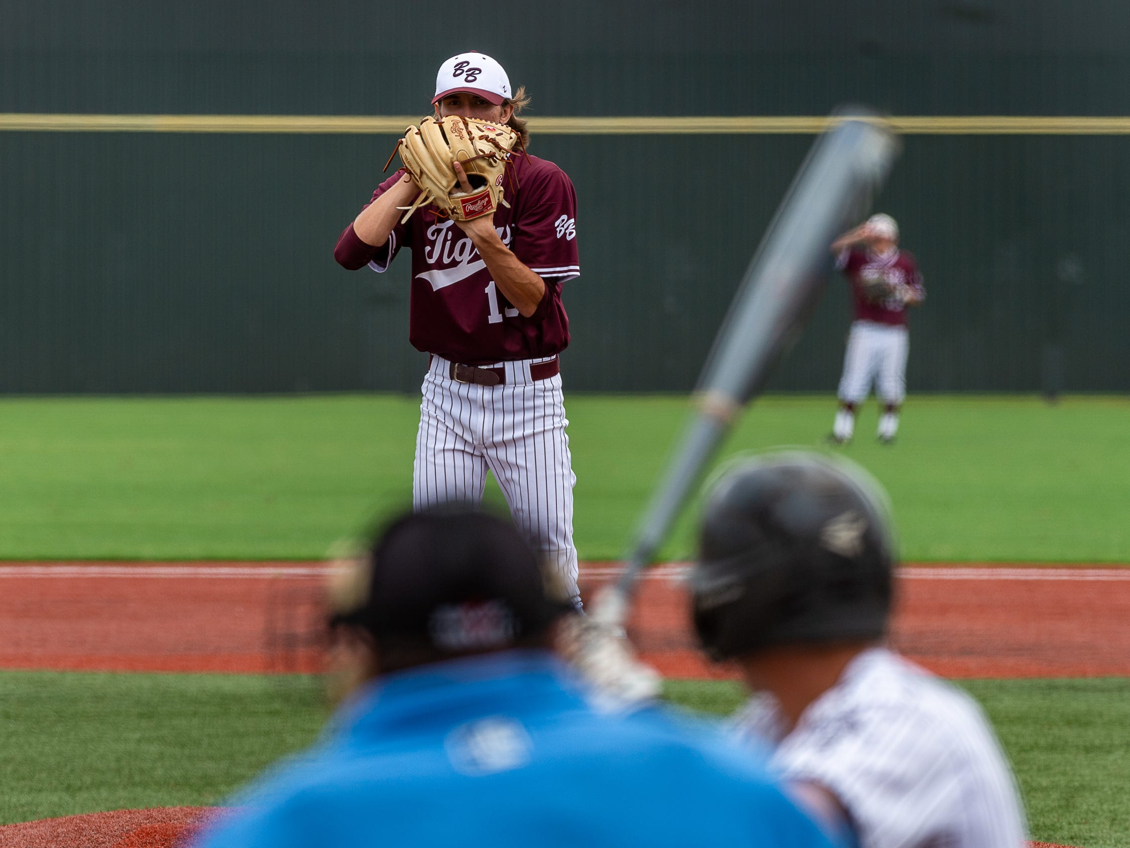 Caleb Seroski on the mound as  Breaux Bridge takes on Lakeshore  in the Class 4A semi final round at the LHSAA State Championship. . Sunday, May 12, 2019.