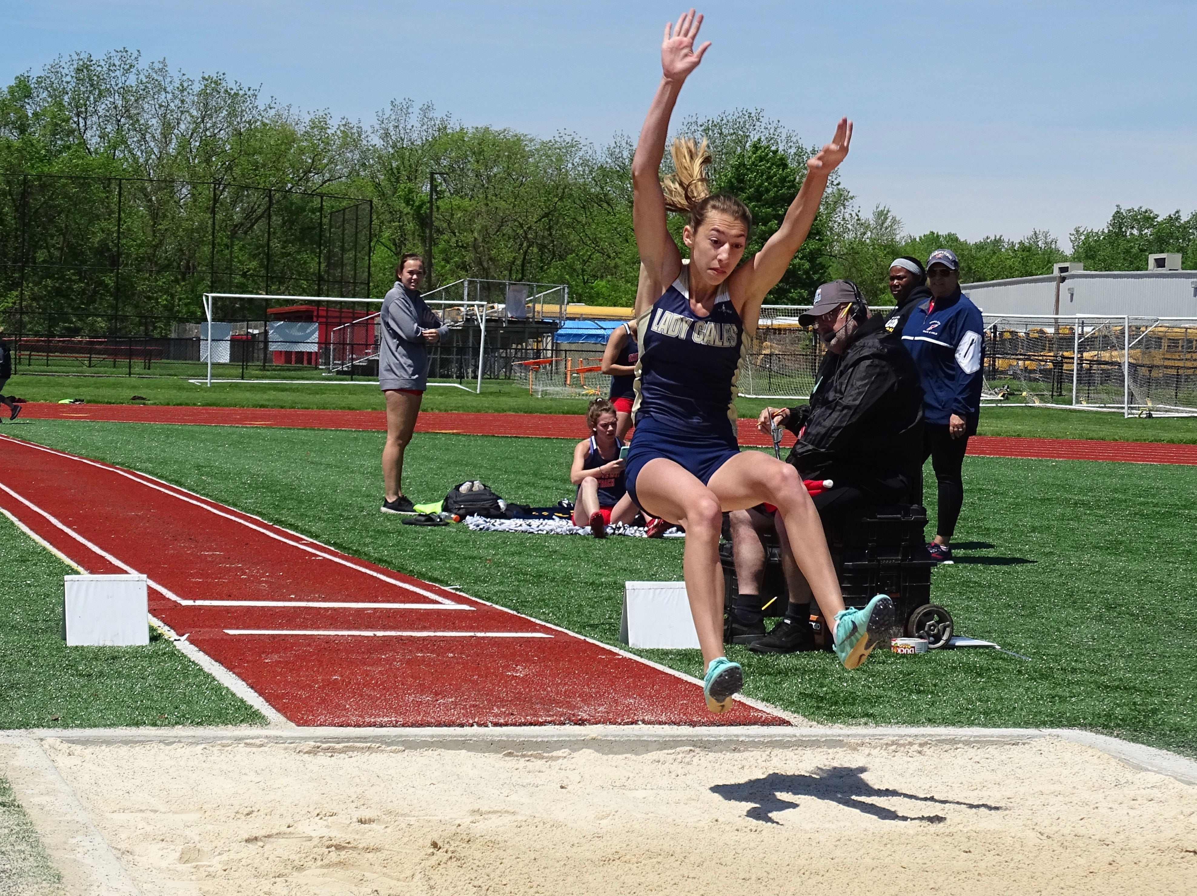 Lancaster's Sophia Rockwood competes in the long jump during Saturday's Ohio Capital Conference-Ohio Division championships.