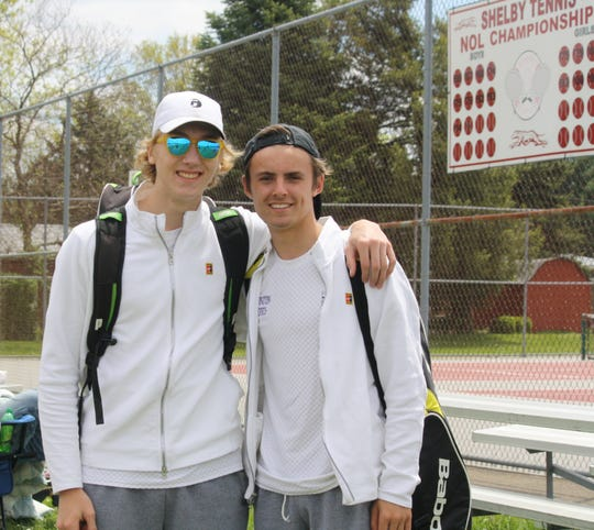 Lexington juniors Benton Drake (left) and Blake Webster won a sectional doubles title by beating teammates Brent Webster and Ryan Mecurio 6-3, 6-1 in Saturday's finals at Shelby High School.