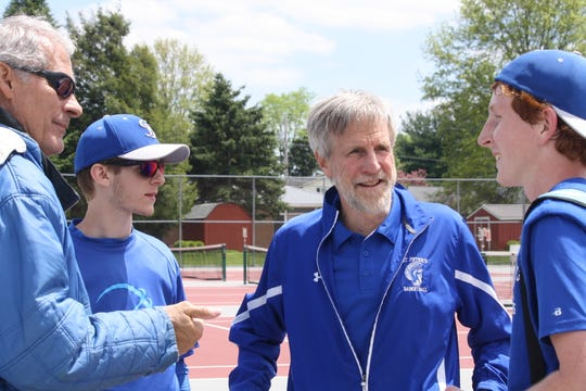 St. Peter's district tennis-bound crew of, left to right, assistant coach Pat Maurer, third-place singles player Harrison Hecker, head coach Charlie Henrich and his son, Luke, the sectional singles champ, after Saturday's finals at Shelby High Shcool