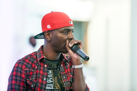 Young Dolph speaks during his Mother's Day Brunch event for Memphis women who are currently overcoming domestic violence, homelessness and recovery, May 12, 2019.