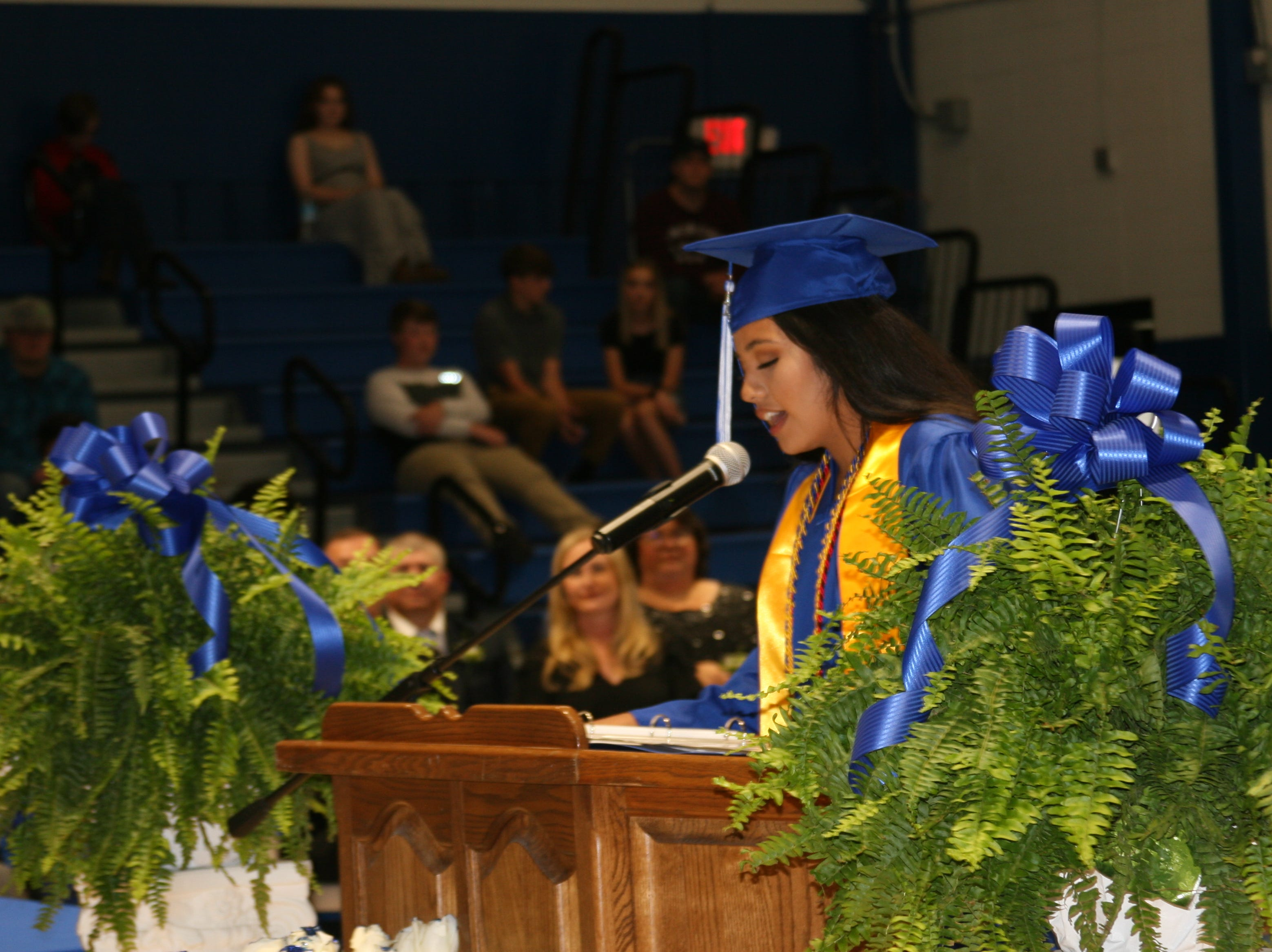 Samantha Sanchez, a 2019 Cotter High School honor graduate, gave the opening remarks during Saturday night's graduation ceremony.