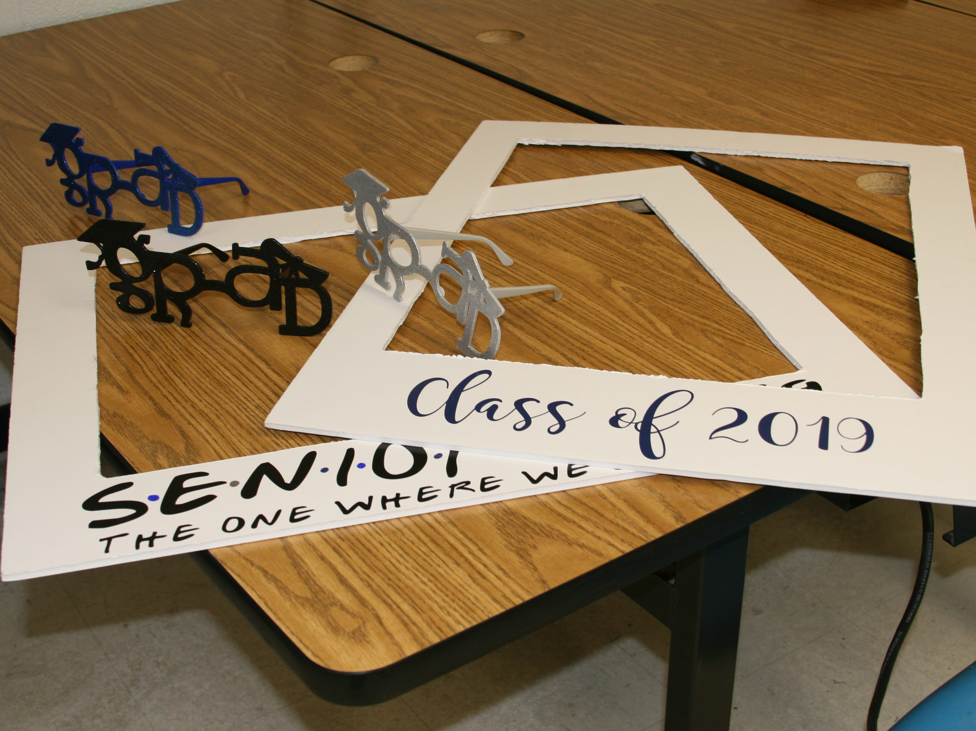 Class of 2019 props were available to Warrior graduates who posed for photographs.