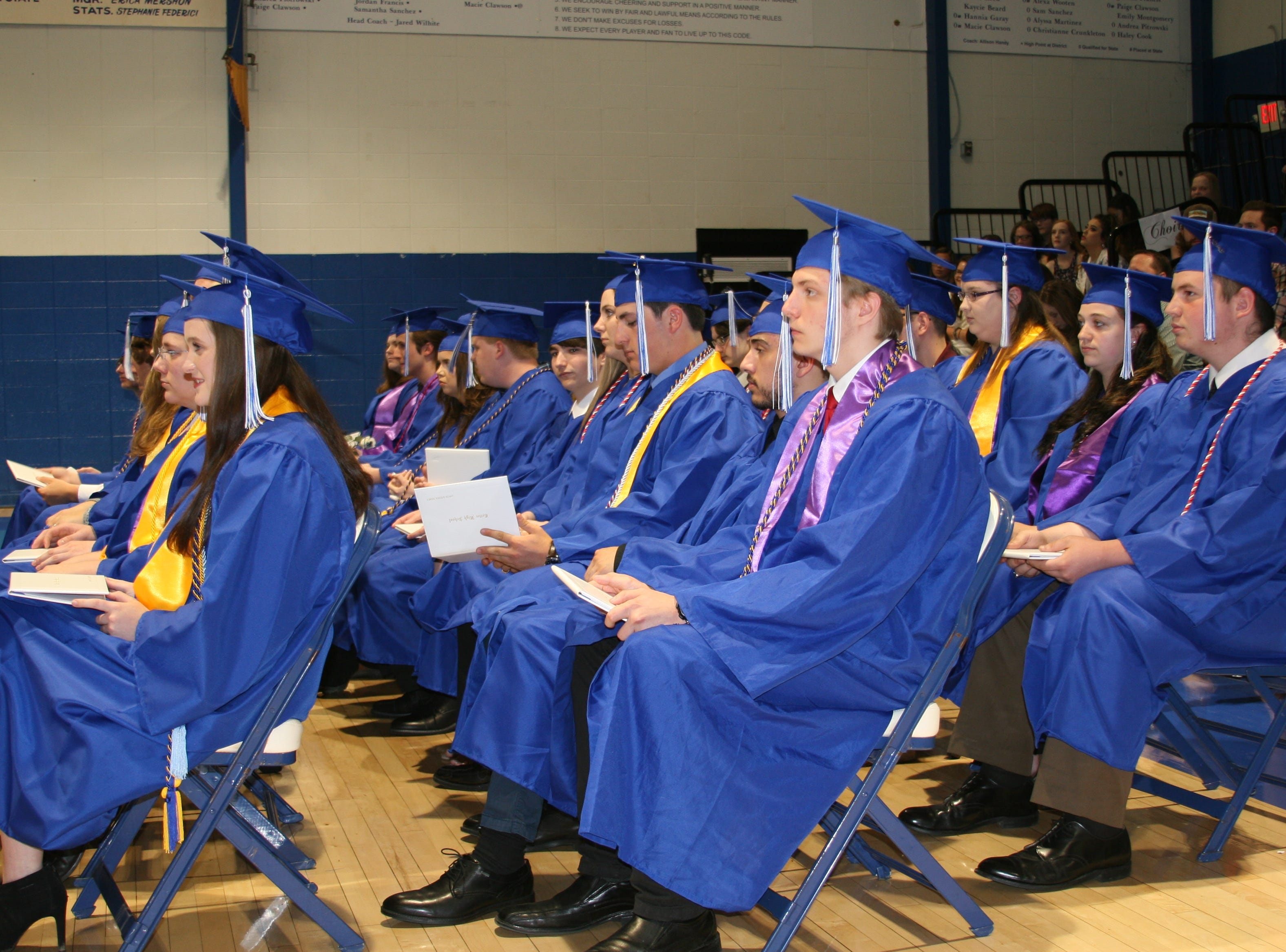 Students breathe a sigh of relief after receiving their 2019 Cotter High School diplomas.