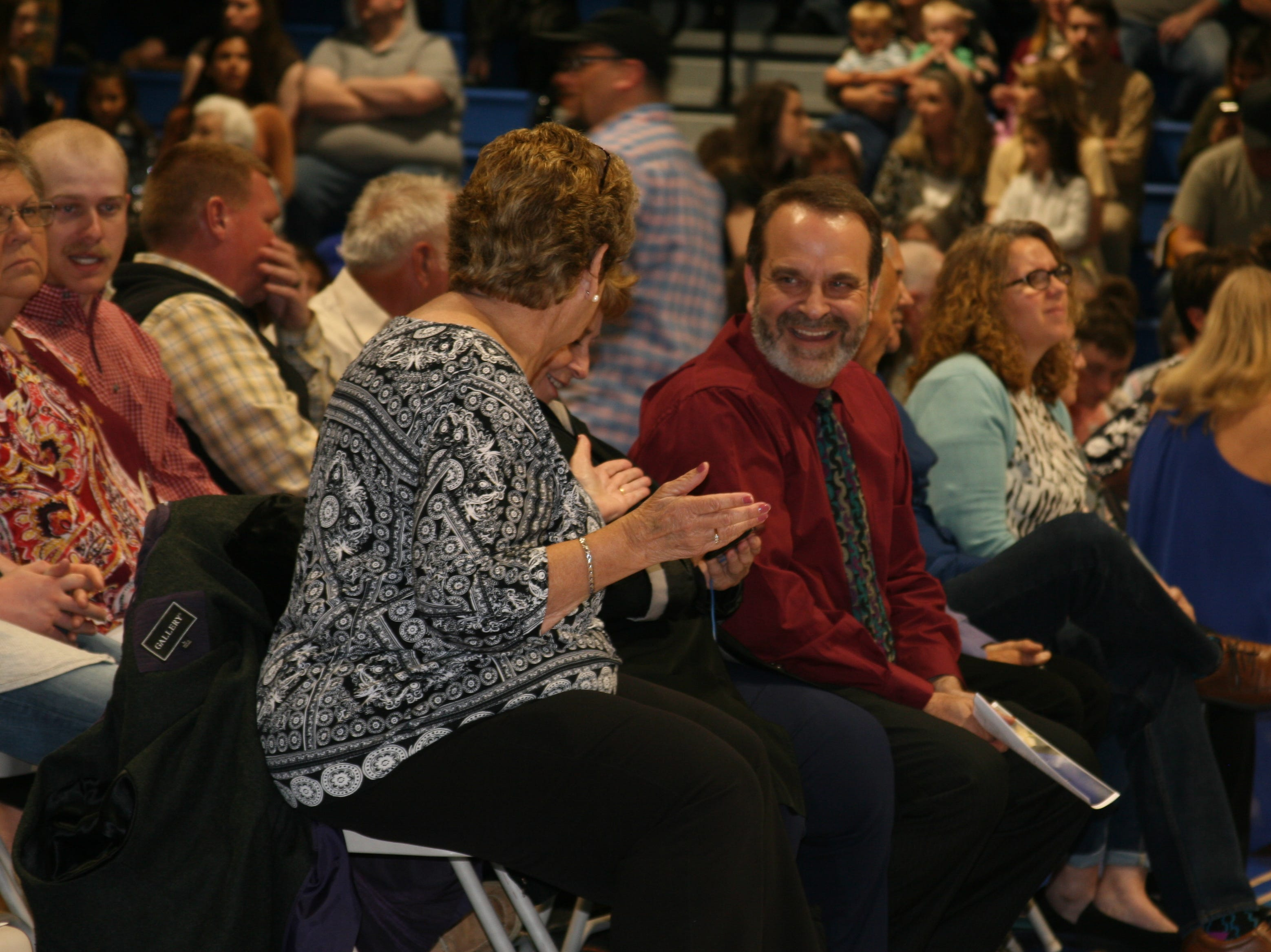 Parents chatted amongst themselves as they waited for their graduates to arrive in the gymnasium of Cotter High School and for the 2019 graduation ceremonies to begin.