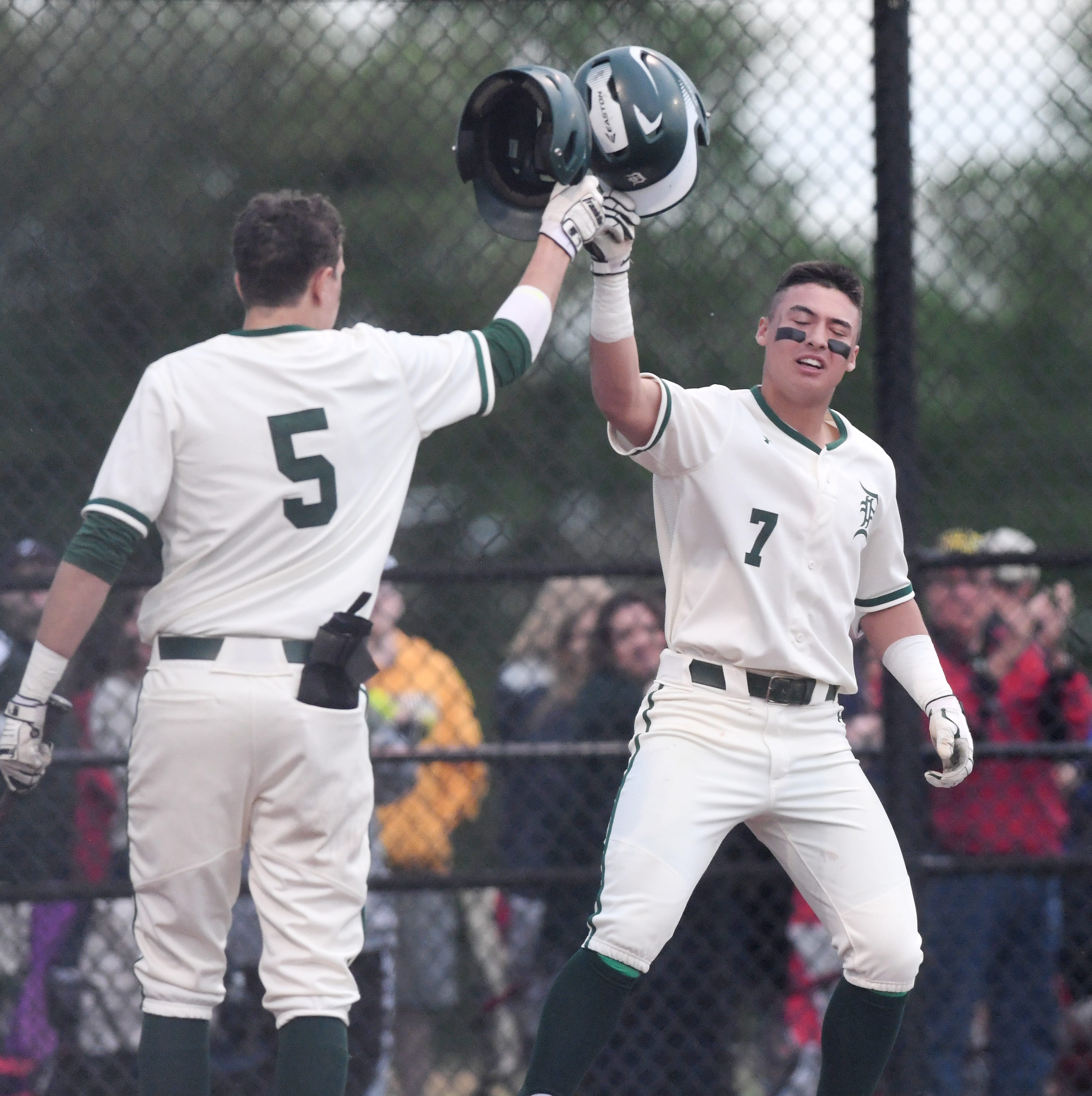 Delbarton shortstop Anthony Volpe celebrates after hitting a home run against West Morris during the Morris County Tournament baseball final at Montville High School on Saturday, May 11, 2019.