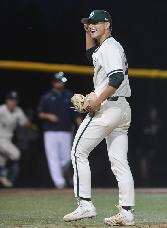 Delbarton vs. West Morris in the Morris County Tournament baseball final at Montville High School on Saturday, May 11, 2019. D pitcher #22 Jack Leiter celebrates defeating West Morris.