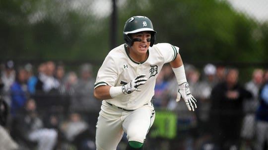 Delbarton vs. West Morris in the Morris County Tournament baseball final at Montville High School on Saturday, May 11, 2019.  D #7 Anthony Volpe runs to first.