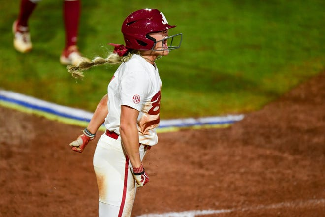 Alabama sophomore KB Sides yells during the 2019 SEC Tournament championship game against Florida on Saturday, May 11, 2019 at Davis Diamond in College Station, Texas. (Photo by Joshua R. Gateley)