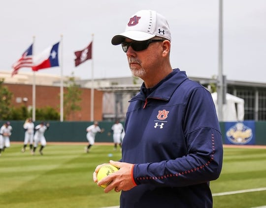 Auburn coach Mickey Dean during the SEC Tournament in College Station, Texas.