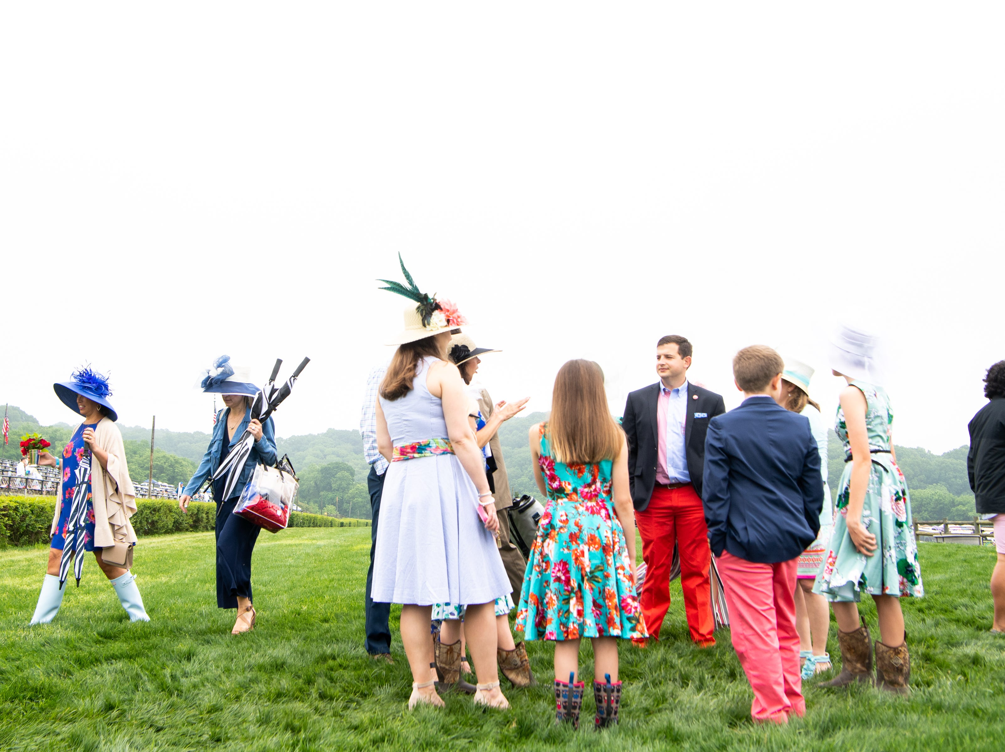 People gather during the Iroquois Steeplechase at Percy Warner Park Saturday, May 11, 2019, in Nashville, Tenn.