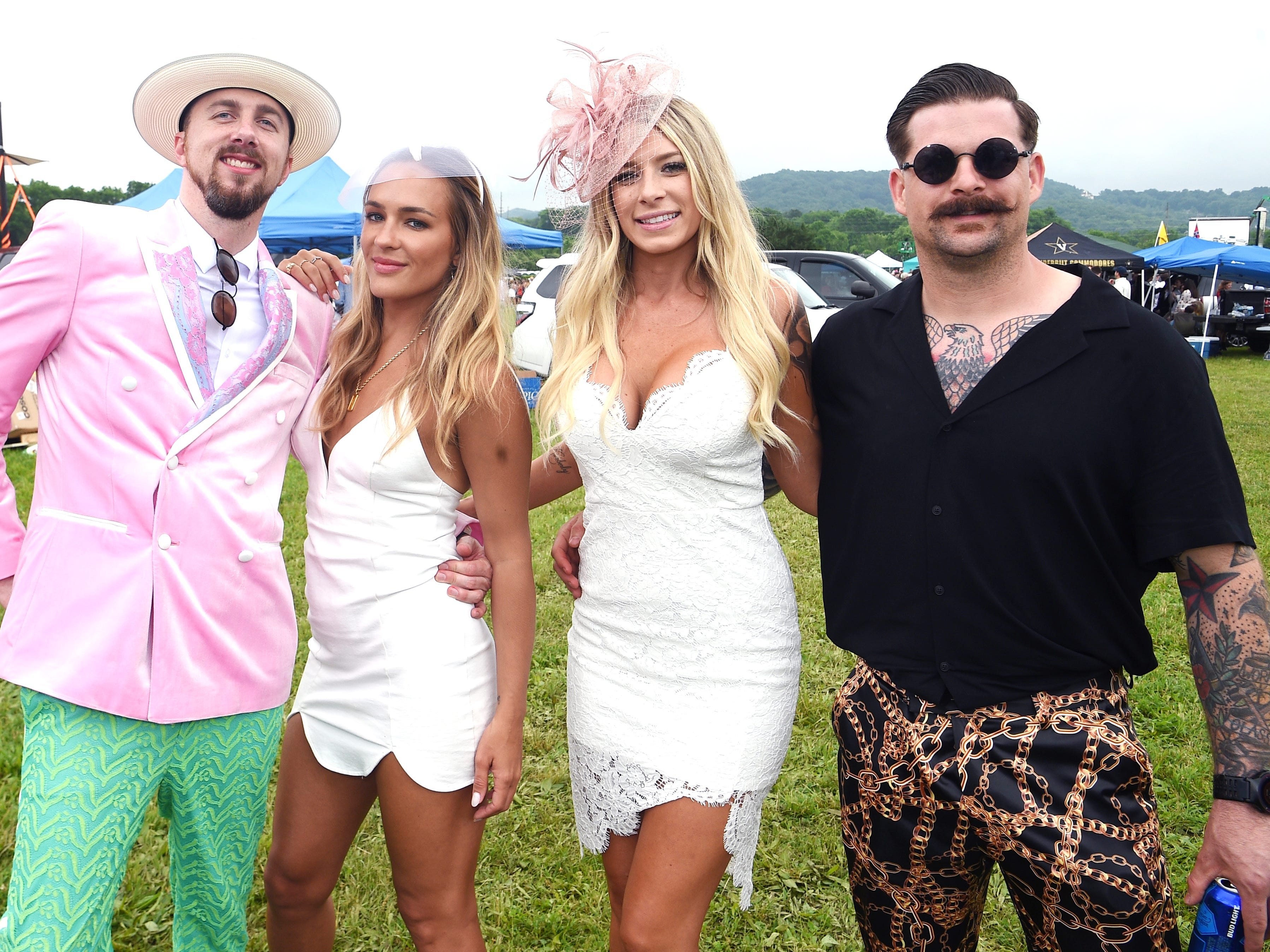Darren Flanary, Preslie Lebfrom, Kylie Jarriel and Andrew Bowden at the 78th Iroquois Steeplechase at Percy Warner Park in Nashville on Saturday, May 11, 2019.