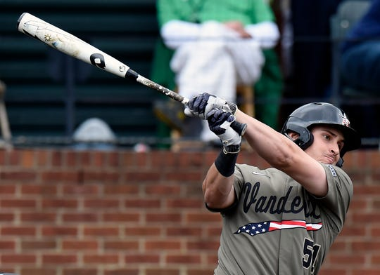 Vanderbilt's J.J. Bleday is leading the SEC in RBIs and total bases.