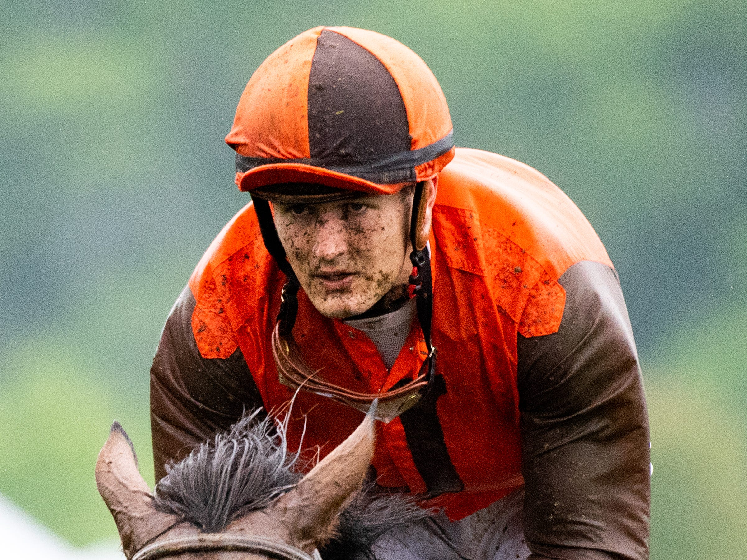 Michale Mitchell rides Amnicalola during the fourth race of the Iroquois Steeplechase at Percy Warner Park Saturday, May 11, 2019, in Nashville, Tenn.