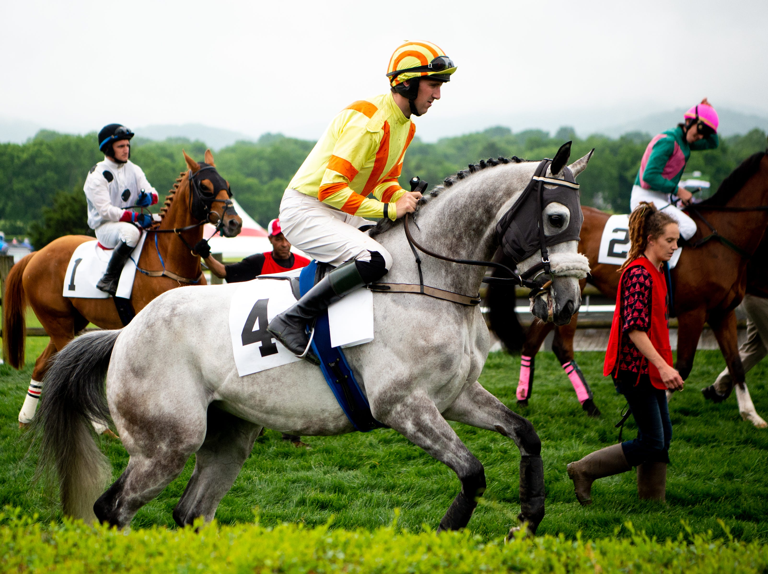 Jack Doyle and Mercoeur prepare for the sixth race of the Iroquois Steeplechase at Percy Warner Park Saturday, May 11, 2019, in Nashville, Tenn.