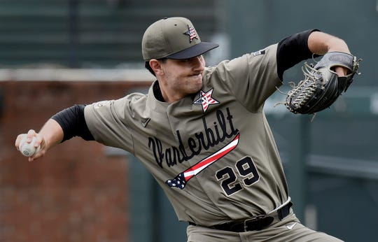 Vanderbilt pitcher Patrick Raby throws to a Missouri batter during the first inning of an NCAA college baseball game Sunday, May 12, 2019, in Nashville, Tenn.