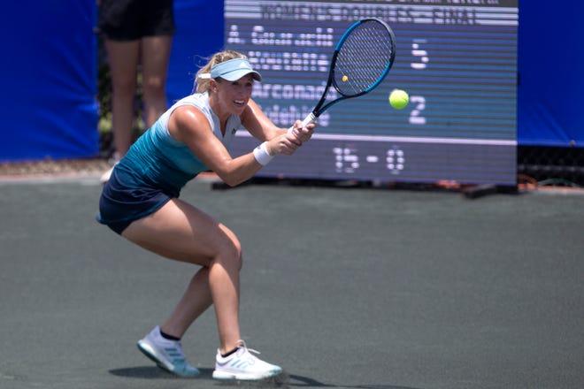 Alexa Guarachi hits the ball during the FineMark Women's Pro Championship women's doubles finals against Usue Maitane Arconada and Caroline Dolehide, Sunday, May 12, 2019, at the Bonita Bay Club in Bonita Springs.